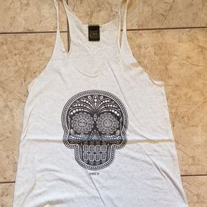 Obey Sugar Skull Tank Top Large Heather-White